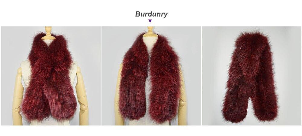 knit fox fur scarf color burgundy