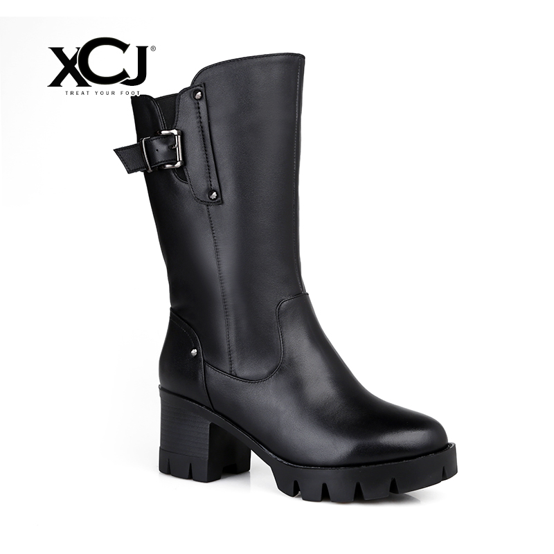 купить Women's Winter Shoes Natural Wool Genuine Leather Women Winter Boot High Quality Mid Calf Boots Brand Women Winter Shoes XCJ по цене 4691.83 рублей