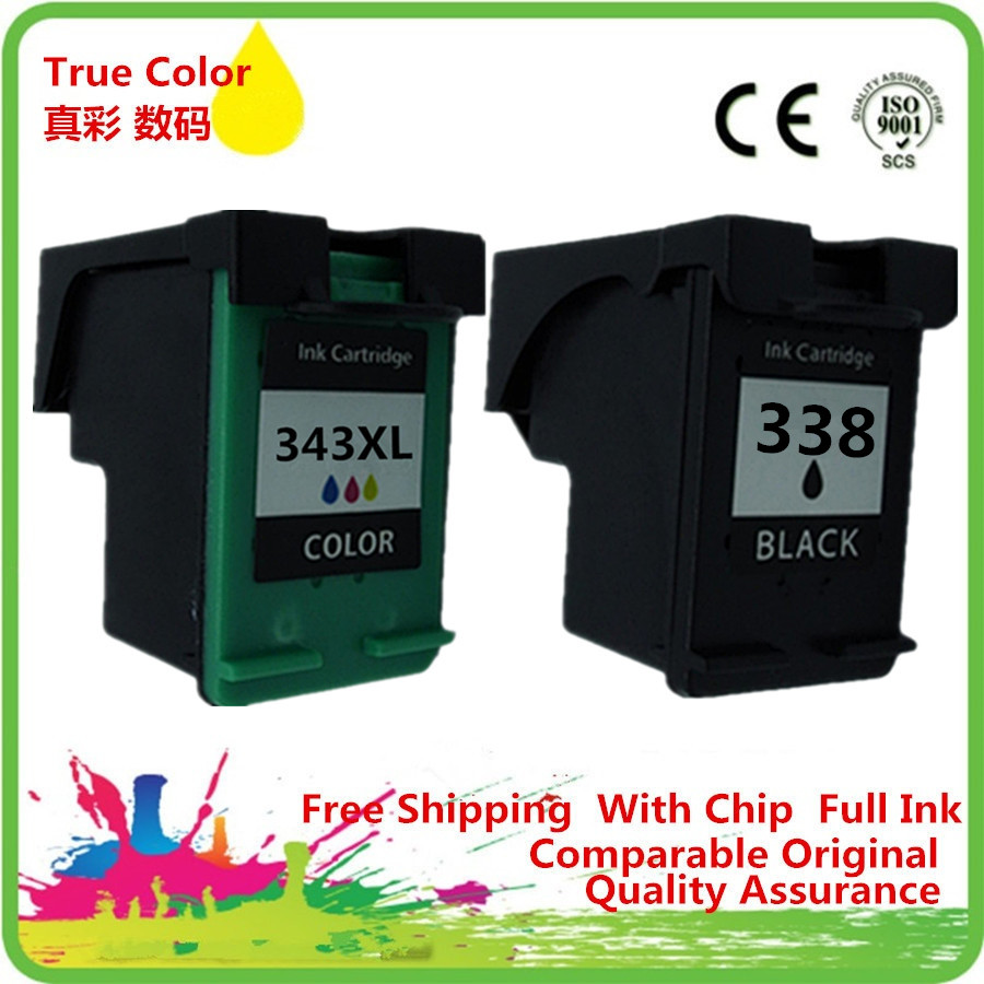 Ink Cartridges Remanufactured For HP 338 343 XL Photosmart ...