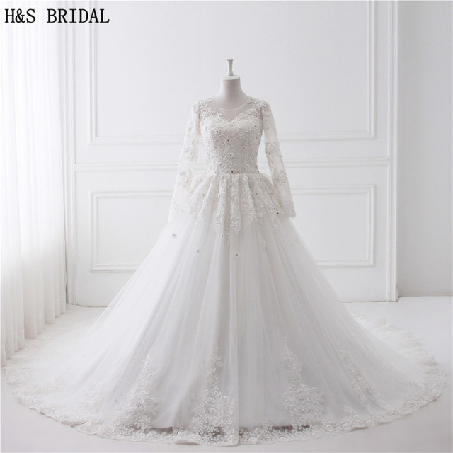 Luxury Cathedral Train Ball Gown Wedding Dresses 2018 Sheer Front Back Lace Long Sleeves