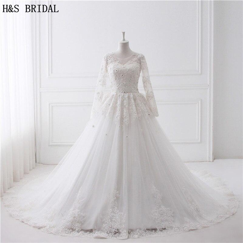 Роскошное бальное платье с соборным шлейфом, свадебные платья 2019, кружевное свадебное платье с длинными рукавами, Vestido De Novias Princess