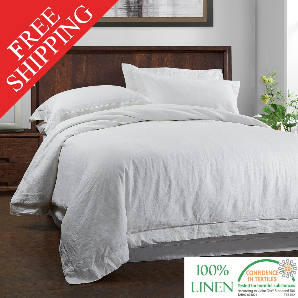 100 LINEN STONE WASH Bedding SET Duvet Cover and Pillow case with Embroidery