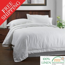 100%LINEN STONE WASH Bedding SET Duvet Cover and Pillow case  with Embroidery