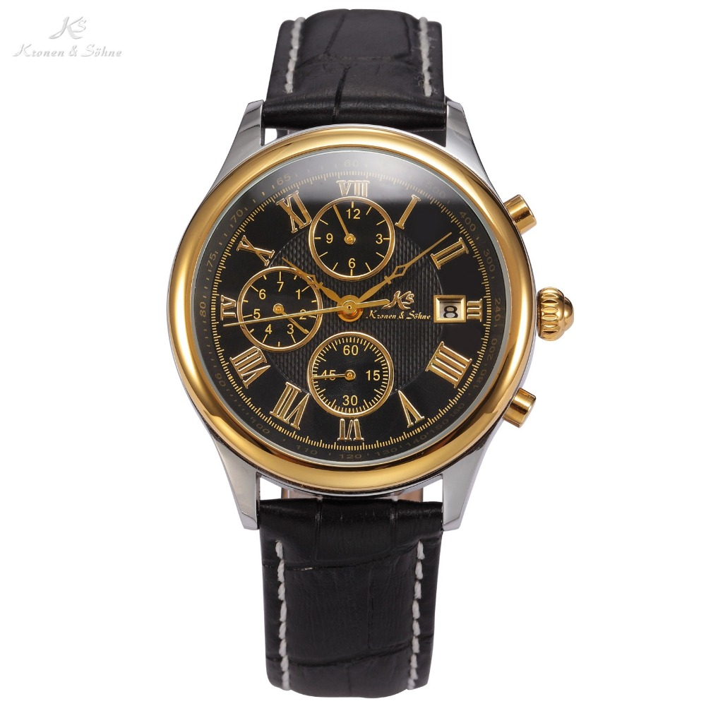 IMPERIAL KS Clear Mineral Glass Golden Date Luxury Calendar Mechanical Black Leather Strap Casual Watches Men Wristwatch / KS148 strong rolling glass cutter black golden