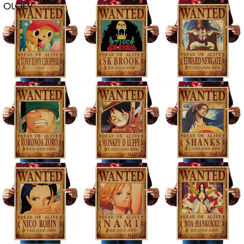1PC 51.5x36cm Home Decor Wall Stickers Vintage Paper One Piece Wanted posters Anime posters Luffy Chopper Wanted