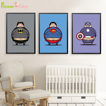Batman Superman Wall Art Canvas Painting Superhero Nordic Poster Flamingo Cartoon Kids Pictures For Living Room Unframed