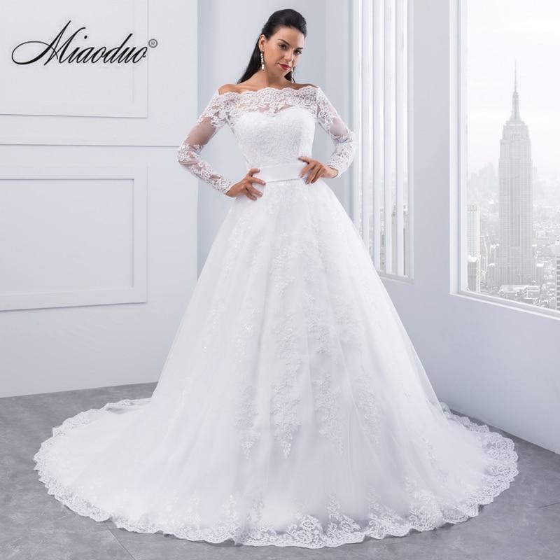 Miaoduo Vestidos De Novia 2019 Long Sleeve Lace Wedding Dress Ball Gown Wedding Dresses Robe De