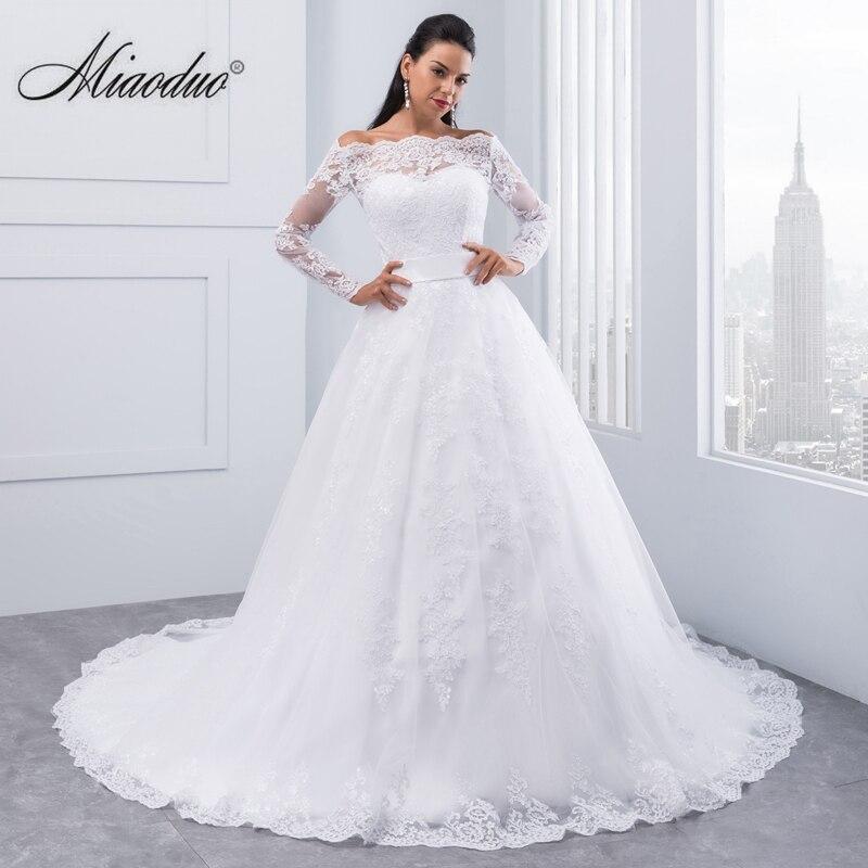 Miaoduo Vestidos De Novia 2018 Dài Tay Áo Ren Wedding Ăn Mặc Bóng Gown Wedding Dresses 2018 Robe De Mariage Wedding Gowns
