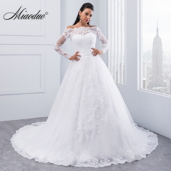 1b992880a Miaoduo Vestidos De Novia 2019 manga larga vestido De Novia De encaje  vestido De boda Vestidos