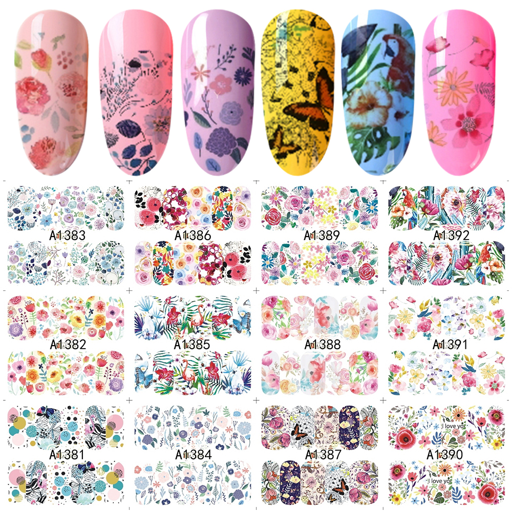 12 Designs Water Transfer Nail Sticker Bloom Flowers Butterfly Stickers Nail Art Film Full Wraps Tips Decoration SAA1381-1392 12 sheets nail sticker water transfer decals full wraps cat flowers feather design nail art set red decoration tips sastz501 512