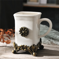Nordic European style Fashion ice crack ceramic tooth mug with Handle,Bathroom toiletries rinsing cup home supplies carving cup