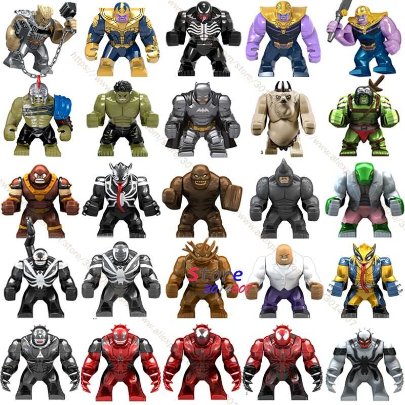Single Big Size Marvel Venom Edward Brock Anti-Venom Hulk Thanos Cull Obsidian Batman Bane  models Building Blocks Toys