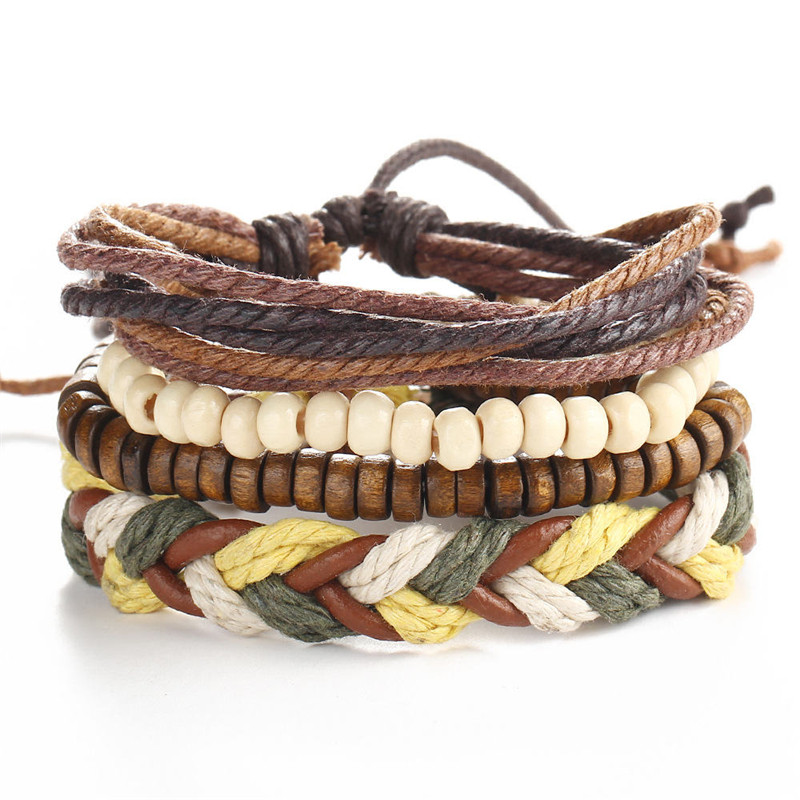2018 Fashion accessories Rope Wood Bead Leather Bracelets & bangles 1 Sets Multilayer Braided Wristband Bracelet Men pulseira