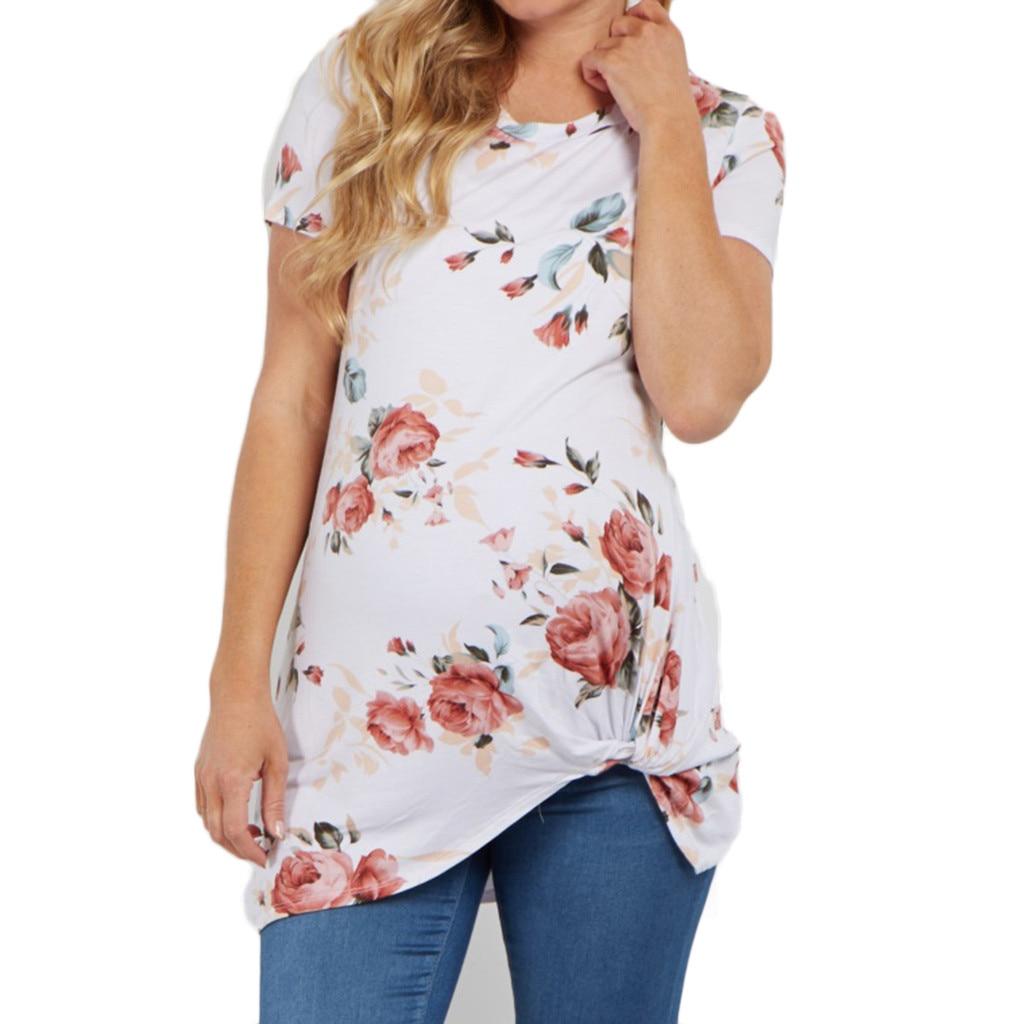 S-3XL Женская летняя блузка для беременных с принтом и круглым вырезом, с коротким рукавом, из полиэстера, с принтом, белая, розовая блузка, рубашка для беременных, большие размеры 314 - Цвет: WH
