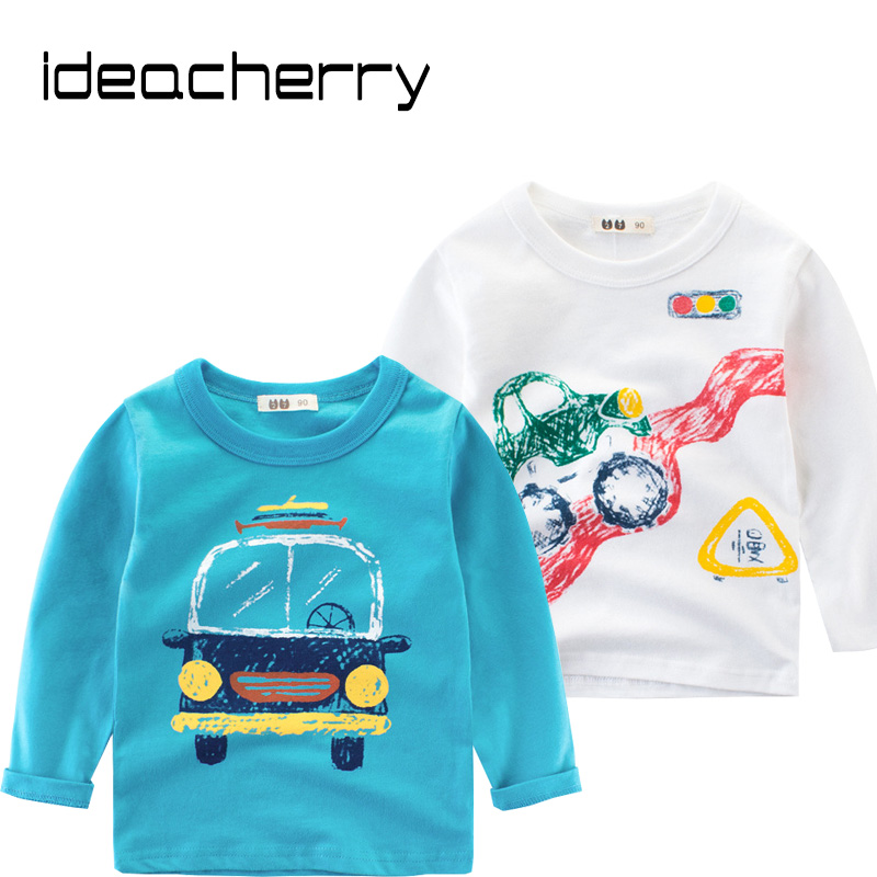 ideacherry Brand Spring Children Boys Long Sleeves T-Shirts Cotton Cartoon Car Children's Shirt Baby Clothes Boys Sweatshirt high low hem long sleeves sweatshirt