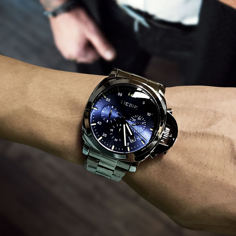 Megir 3006 Luxury Business Quartz Watch Men Waterproof Wristwatch Stainless Steel Strap Men's Fashion Watches Free Shipping