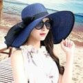 Chapéu protetor solar verão feminino dobrável grande chapéu de praia borda sunbonnet strawhat