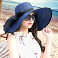 Hat female summer sunscreen folding large brim beach sunbonnet strawhat