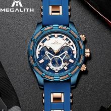 MEGALITH мужские часы лучший бренд класса люкс Синий силиконовый ремешок водонепроницаемый спортивный хронограф кварцевые наручные часы Relogio Masculino