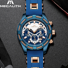 MEGALITH Mens Watches Top Brand Luxury Blue Silicone Strap Waterproof Sports Chronograph Quartz Wrist Watches Relogio Masculino