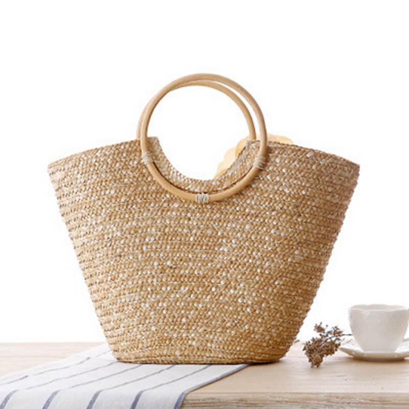 LJL Women's Straw Handbag Flower Woven Summer Beach Messenger Tote Bag Basket Shopper Purse