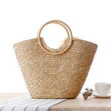 LJL женская соломенная сумка цветок тканые летние пляжные сумка Корзина шоппер кошелек