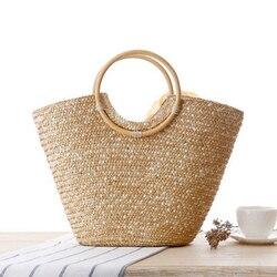 LJL Women's Straw Handbag Flower Woven Summer Beach Messenger Tote Bag Basket Shopper Purse