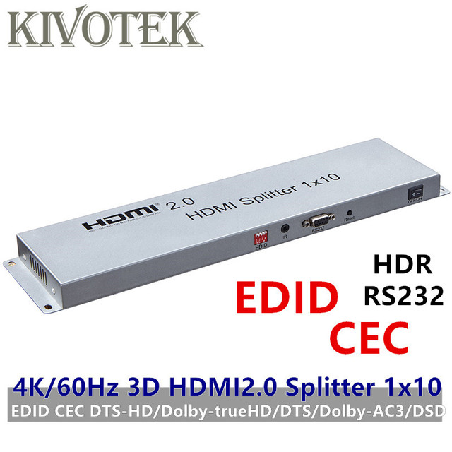 4K 3D HDR HDMI Splitter 1x10 HDMI2.0V Adapter EDID RS232 CEC splitter 1 to 10 Female Connectors for HDTV Display Free Shipping