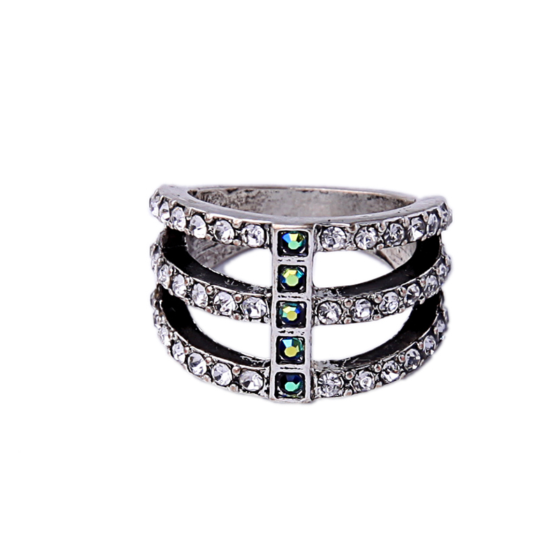Europe Statement Fashion Ring For Women Antique Silver Color Layered Rhinestone Ring Vintage