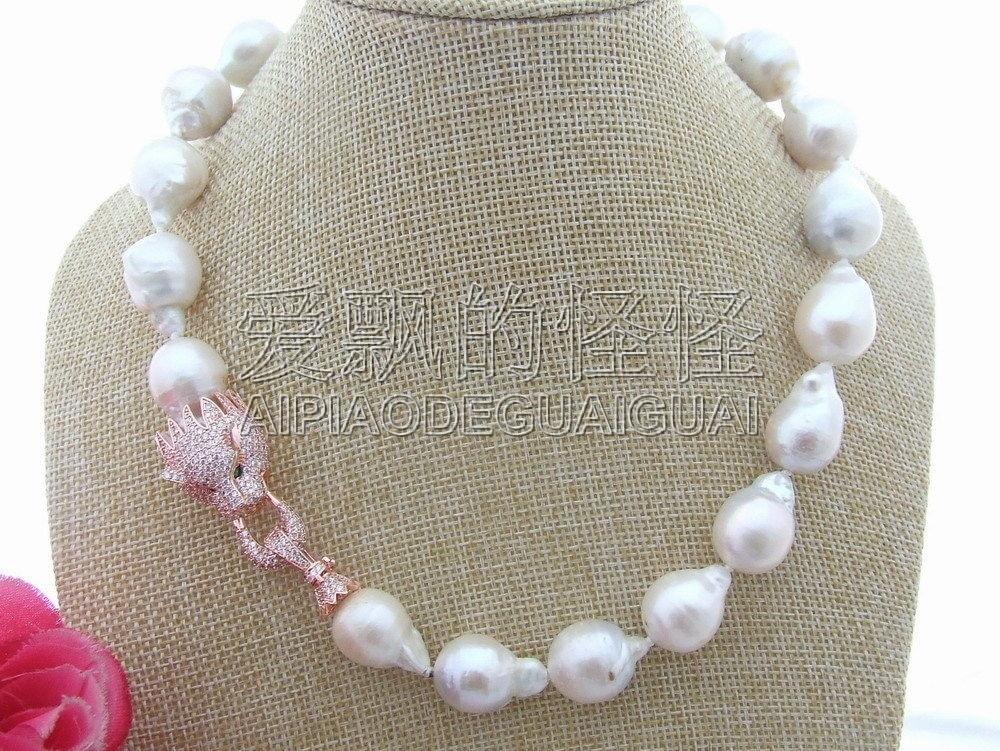 N040211 Natural 22MM Keshi Pearl NecklaceN040211 Natural 22MM Keshi Pearl Necklace