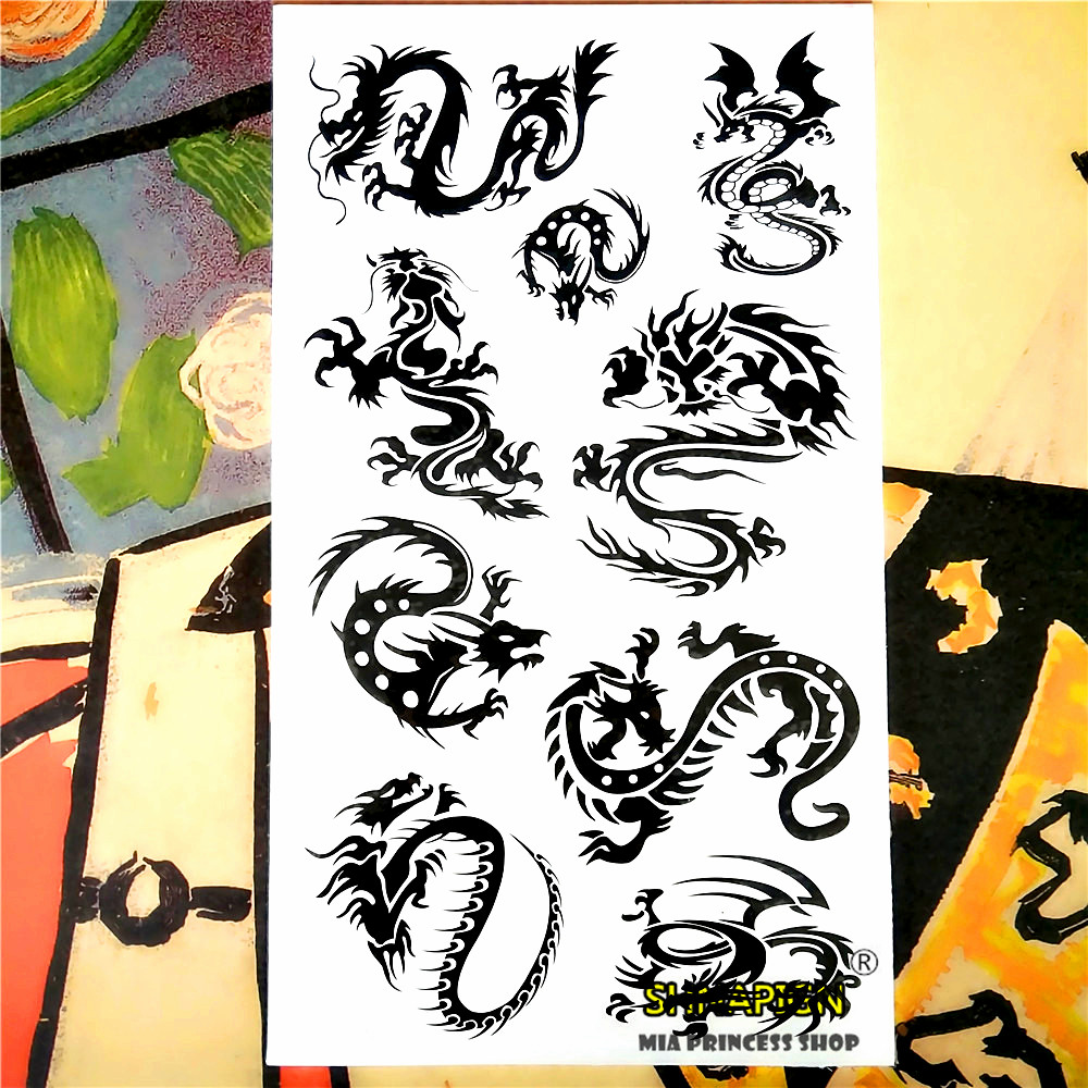 Nu-TATY Black Dragon Totem Temporary Tattoo Body Art Arm Flash Tattoo Stickers 17*10cm Waterproof Fake Henna Painless Tattoo 9