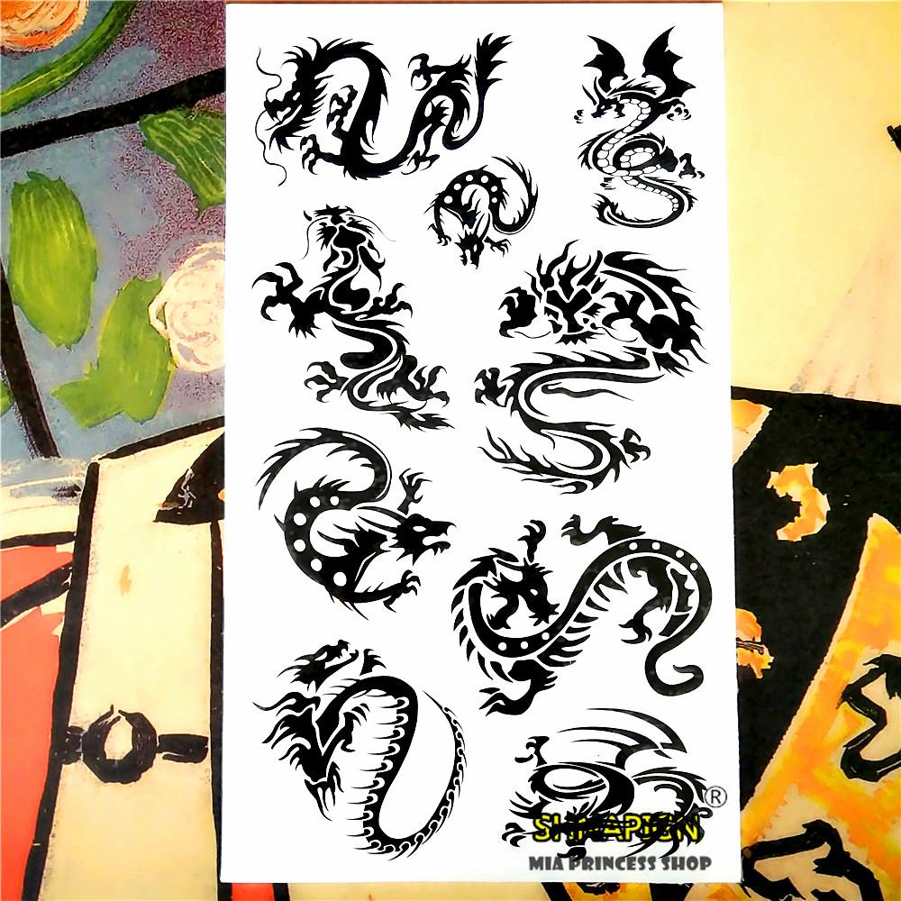 Nu-TATY Black Dragon Totem Temporary Tattoo Body Art Arm Flash Tattoo Stickers 17*10cm Waterproof Fake Henna Painless Tattoo 9