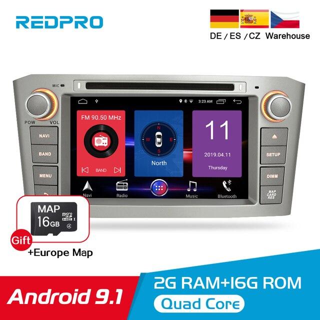 7 IPS Android 9.1 รถเครื่องเล่นดีวีดีสำหรับ Toyota Avensis/T25 2003 2008 รถนำทาง GPS WIFI FM BL 2 DIN สเตอริโอมัลติมีเดีย