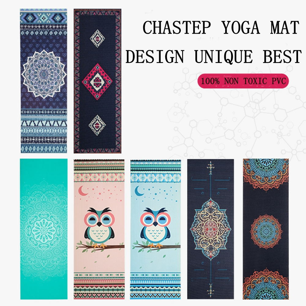 Chastep Natural PVC Yoga Mat Anti Slip Sweat Absorption 183*61cm*6mm Yoga Pad Fitness Gym Pilates Sports Exercise pad Yoga Mats printed yoga mat travel mat 183 61 0 15cm anti slip foldable yoga pilates pad exercise mats for gym fitness sports dance cover