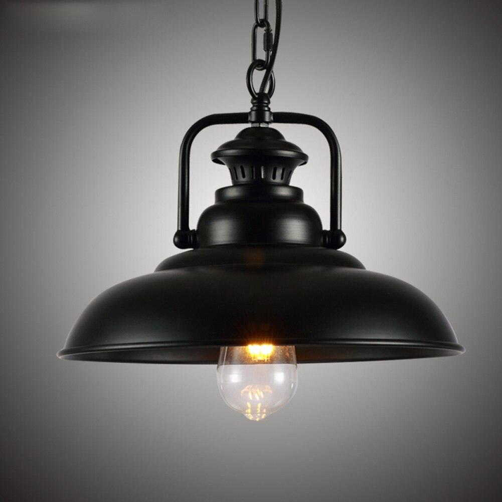 Vintage Wrought Iron Lid Pendant Lights Industrial Ceiling Pendant Lamps Loft Retro Hanging Light Fixture luminaria Pendlight retro matte black iron ceiling light american industrial iron lights