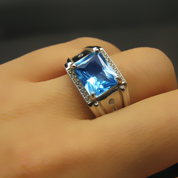 925 Sterling silver blue topaz Ring  fashion gift for women jewelry Rose Open ring  Fine Jewelry j081001agb