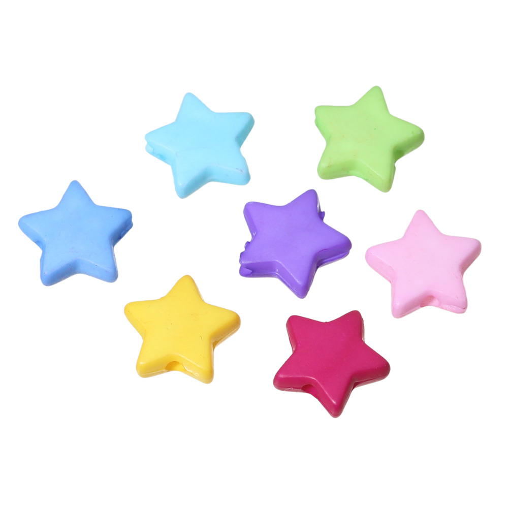 "Doreen Box hot- 500PCs Mixed Star Acrylic Spacer Beads 9x9mm(3/8""x 3/8"")(B19424)"
