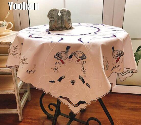 Modern Satin Embroidery Tablecloth Lace Square Easter Tea