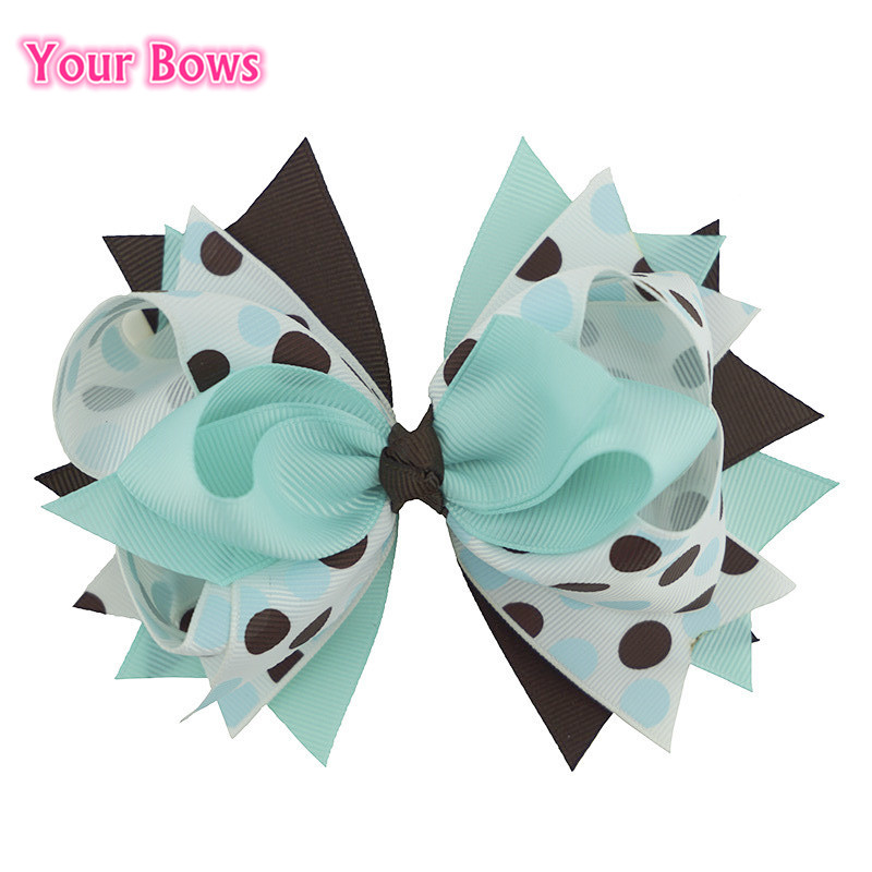 5.5 Inches 2016 Green Fireflies Big Stacked Boutique Hair Bows Hairpin Girls Hair Clip Cute Hairpins Flower Dot Headband 12 colors cute girls hairpins children elsa side knotted clip hairpin hair clip small size hair accessories