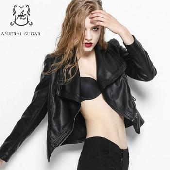 Chaqueta de cuero negra para mujer, chaqueta de piel sintética oblicua, ajustada,...