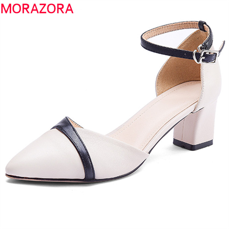 MORAZORA 2018 new arrival pumps women shoes pointed toe summer shoes genuine leather shoes fashion mixed colors high heels shoes stylish hollow out heart shape pendant necklace with owl for women