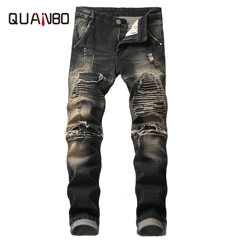 QUANBO 2019 new arrival mens slim hole ripped   jeans   fashion pleated paste Vintage nostalgic   jeans   plus size brand clothing 42