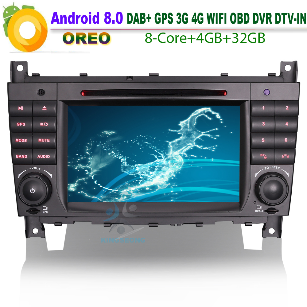Android 8.0 Autoradio Car DVD <font><b>Navi</b></font> GPS CD DAB+ WiFi 4G BT SD <font><b>Radio</b></font> USB Bluetooth DVR OBD for Mercedes <font><b>Benz</b></font> C-Klasse <font><b>W203</b></font> image
