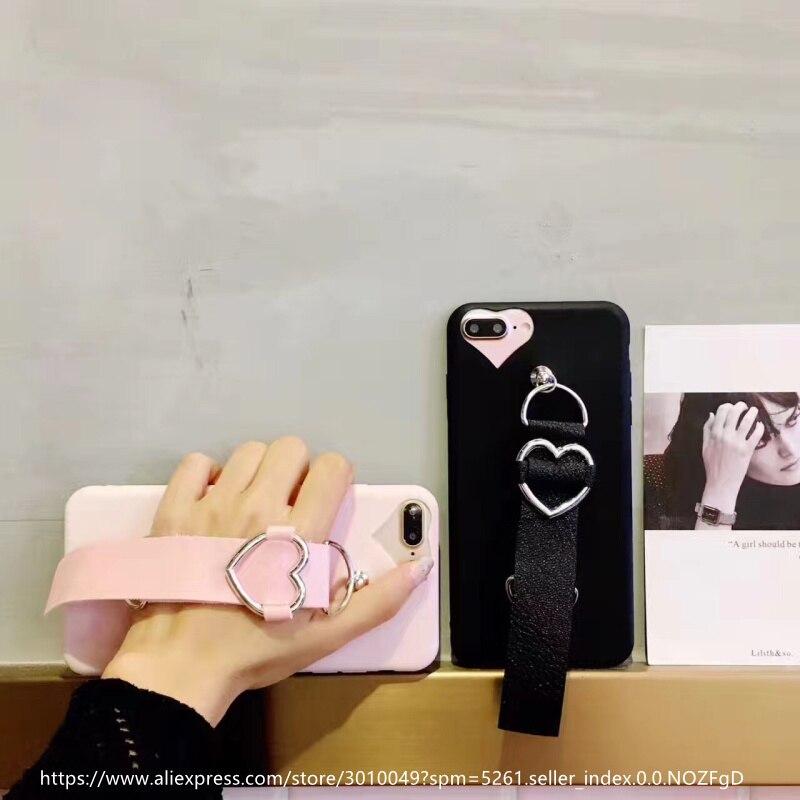 Luxury TPU <font><b>Phone</b></font> <font><b>Cases</b></font> For iphone 6 6S Plus Love Heart Leather <font><b>Bracelet</b></font> Back Cover For iphone 6 6S Plus <font><b>Phone</b></font> <font><b>Cases</b></font> Coque