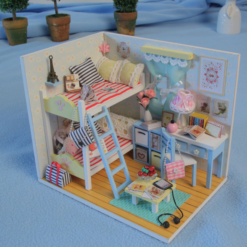 3D Kids Wooden Assemble DIY Doll House Toy Miniatura Doll Houses Furniture Kits Girls Living Room Decor Birthday Gift T30