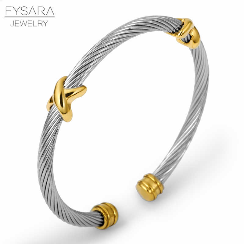 FYSARA Lady Cross Bangle Charm Stainless Steel Silver Stripe Wire Chain Cable Bracelet Men Cuff Bracelet For Women Party Jewelry