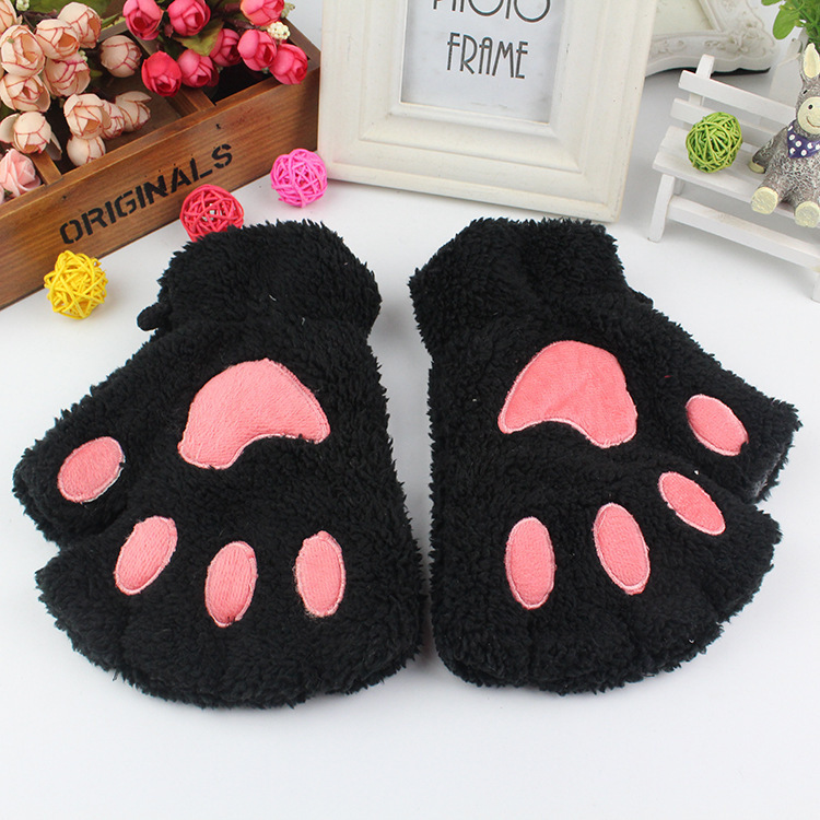 ladies winter fingerless gloves fluffy bear cat plush paw. Black Bedroom Furniture Sets. Home Design Ideas