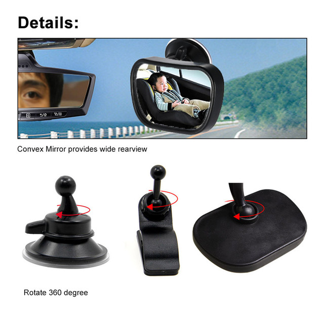 2 in 1 Mini Safety Car Back Seat Baby View Mirror Adjustable Baby Rear Convex Mirror Car Baby Kids Monitor  4