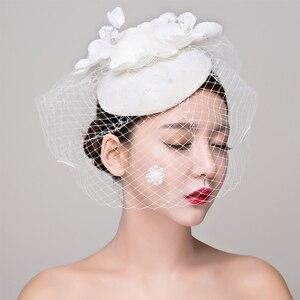 Image 2 - הכלה סטודיו תמונה כיסוי ראש תחרה פשתן רדוד לבן כובע שיער קישוטי חתונה שמלת אביזרי נשים fasinator כובע שיער קליפ