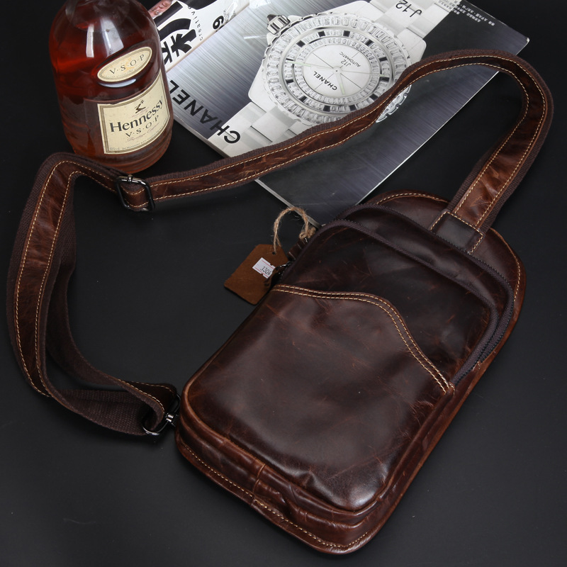 ФОТО New Brand Designer Fashion Cow Genuine Leather Bag Sling Chest Pack Men Messenger Bags Vintage Shoulder Bags